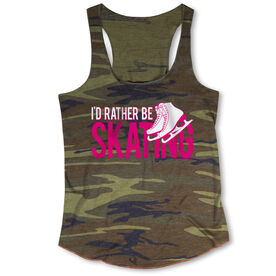 Figure Skating Camouflage Racerback Tank Top - I'd Rather Be Skating