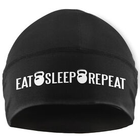 Beanie Performance Hat - Eat Sleep Repeat (White Lettering)