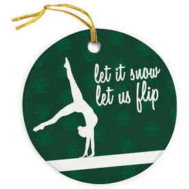 Gymnastics Porcelain Ornament Let It Snow, Let Us Flip