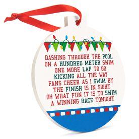 Swimming Round Ceramic Ornament - Jingle All the Way
