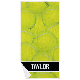 Tennis Premium Beach Towel - Personalized Ball Background