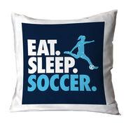 Soccer Decorative Pillow - Eat Sleep Soccer (Girl)