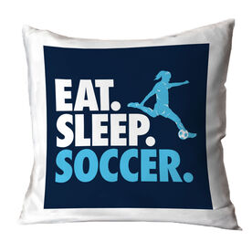 Soccer Decorative Pillow - Eat Sleep Soccer (Girl)
