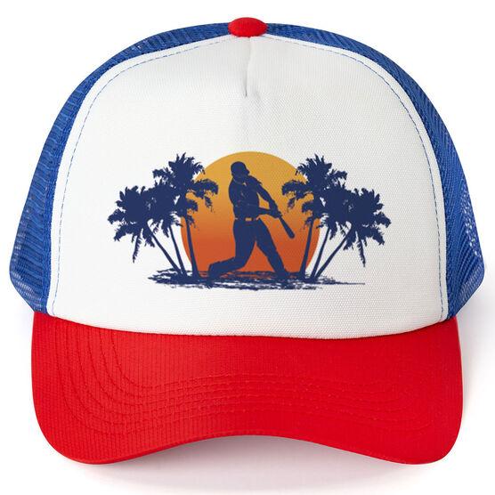 Baseball Trucker Hat Baseball Sunset