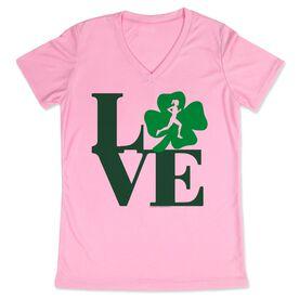 Women's Customized Pink Short Sleeve Tech Tee Runners Love with Clover