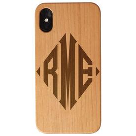 Personalized Engraved Wood IPhone® Case - Diamond Monogram