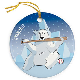 Baseball Porcelain Ornament Polar Bear Batter