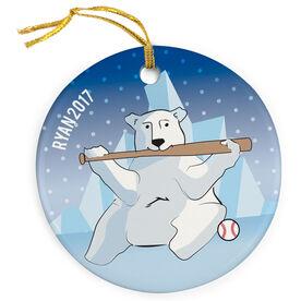 Baseball Porcelain Ornament Polar Bear Batter