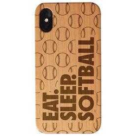 Softball Engraved Wood IPhone® Case - Eat. Sleep. Softball.