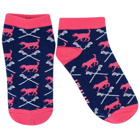 Girls Lacrosse Ankle Socks - Lula the Lax Dog