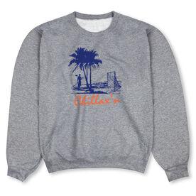 Guys Lacrosse Crew Neck Sweatshirt - Chillax'n Beach Guy