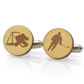 Hockey Engraved Wood Cufflinks Silhouettes