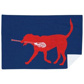 Guys Lacrosse Premium Blanket - Patriotic Max the Lax Dog