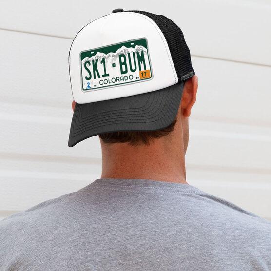 Skiing Trucker Hat - License Plate