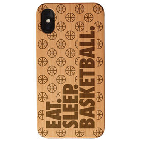 Basketball Engraved Wood IPhone® Case - Eat. Sleep. Basketball.