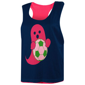 Soccer Racerback Pinnie - Pink Ghost with Soccer Ball