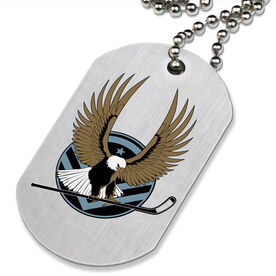 Hockey Eagle Printed Dog Tag Necklace