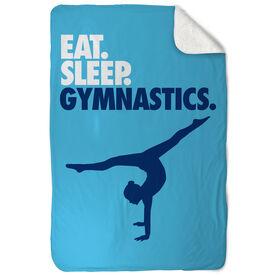Gymnastics Sherpa Fleece Blanket - Eat. Sleep. Gymnastics. Vertical