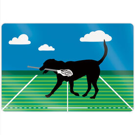 "Guys Lacrosse 18"" X 12"" Aluminum Room Sign - Max The Lax Dog"