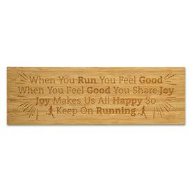 """Running 12.5"""" X 4"""" Engraved Bamboo Removable Wall Tile - When You Run"""