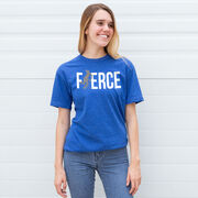 Field Hockey Tshirt Short Sleeve Fierce Field Hockey Girl with Silver Glitter