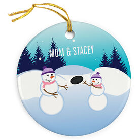Rugby Porcelain Ornament Snowman Mother & Child