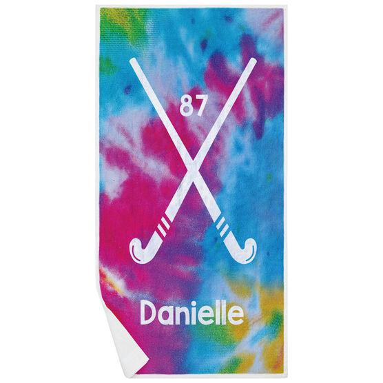 Field Hockey Premium Beach Towel - Personalized Tie-Dye Pattern with Sticks