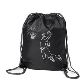 Basketball Sport Pack Cinch Sack - Basketball Player Sketch
