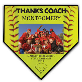 Softball Home Plate Plaque - Thank You Coach Photo