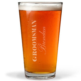 Personalized 16 oz. Beer Pint Glass - Groomsman Classic