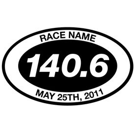 Personalized 140.6 Oval Triathlon Vinyl Decal