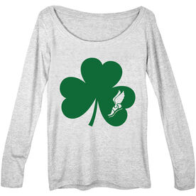 Women's Scoop Neck Long Sleeve Tee Shamrock With Winged Foot Cutout