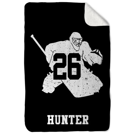 Hockey Sherpa Fleece Blanket Personalized Goalie Player