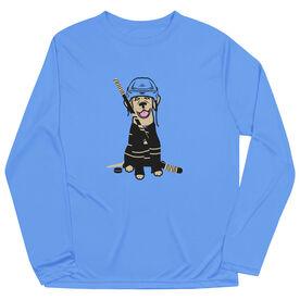 Hockey Long Sleeve Performance Tee - Hunter the Hockey Dog
