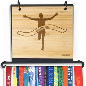 Engraved Bamboo BibFOLIO+™ Race Bib and Medal Display Pride Is Forever Male