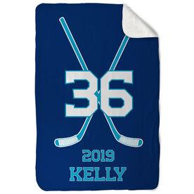 Hockey Sherpa Fleece Blanket - Personalized Player Crossed Sticks