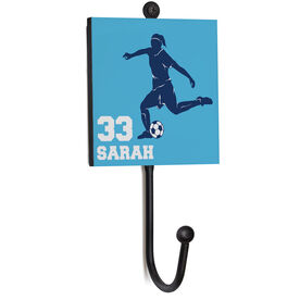 Soccer Medal Hook - Female Player Silhouette With Name and Number