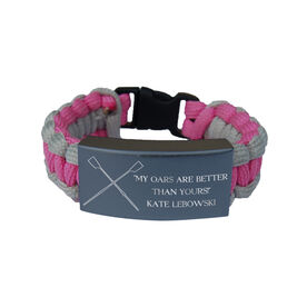 Crew Paracord Engraved Bracelet - 3 Lines/Pink