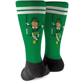 Softball Printed Mid-Calf Socks - Lucky Softball Leprechaun