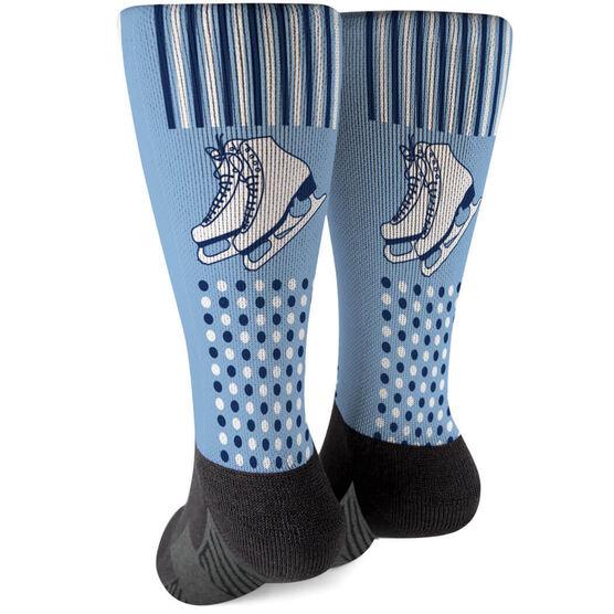Figure Skating Printed Mid-Calf Socks - Skates with Pattern