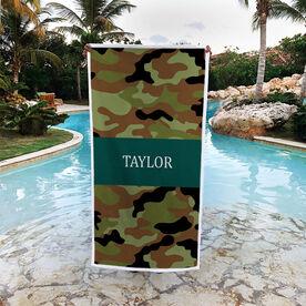 Personalized Premium Beach Towel - Camo Pattern