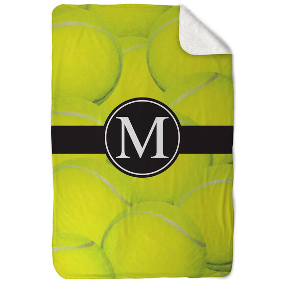 Tennis Sherpa Fleece Blanket - Personalized Ball Background with Monogram