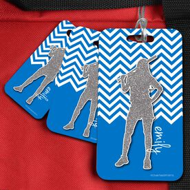 Softball Bag/Luggage Tag Personalized Faux Glitter Chevron Pattern