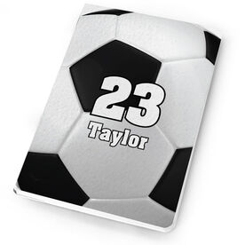 Soccer Notebook - Personalized Big Number Soccer Ball