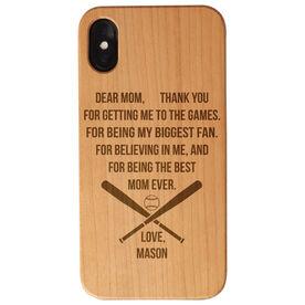 Baseball Engraved Wood IPhone® Case - Dear Mom Thank You Heart