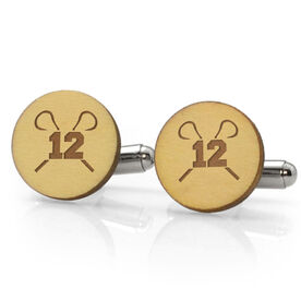 Guys Lacrosse Engraved Wood Cufflinks Your Number With Crossed Sticks