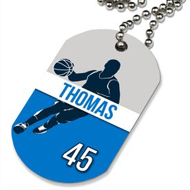 Basketball Printed Dog Tag Necklace Personalized Basketball Guy Name and Number