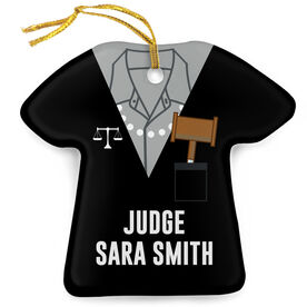 Personalized Porcelain Ornament - Judge Robes Shirt and Pearls
