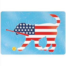 "Softball 18"" X 12"" Aluminum Room Sign - Patriotic Mitts The Softball Dog"