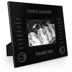 Basketball Engraved Picture Frame - Team Name With Roster (Coach)